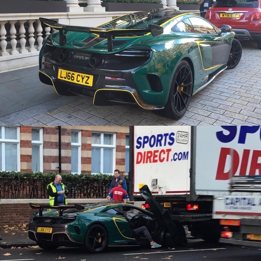 Chiếc McLaren MSO HS trước và sau khi bị tai nạn.