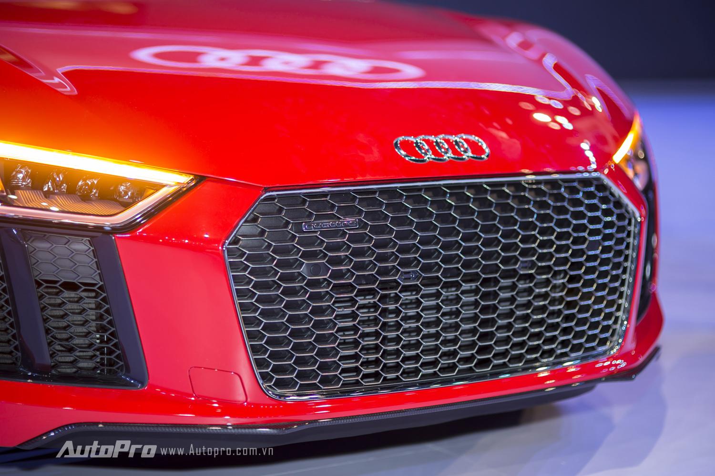 Lưới tản nhiệt cỡ lớn dạng mắt cáo ngay phía trước đầu xe Audi R8 V10 Plus.