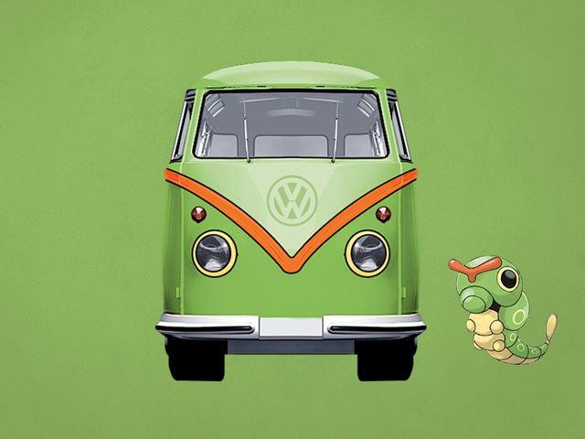 VW Camperpie mang phong cách Hippies sẽ rất phù hợp với Caterpie để ngao du trong chuyến đi cuối tuần của những kẻ nghiện Pokemon.