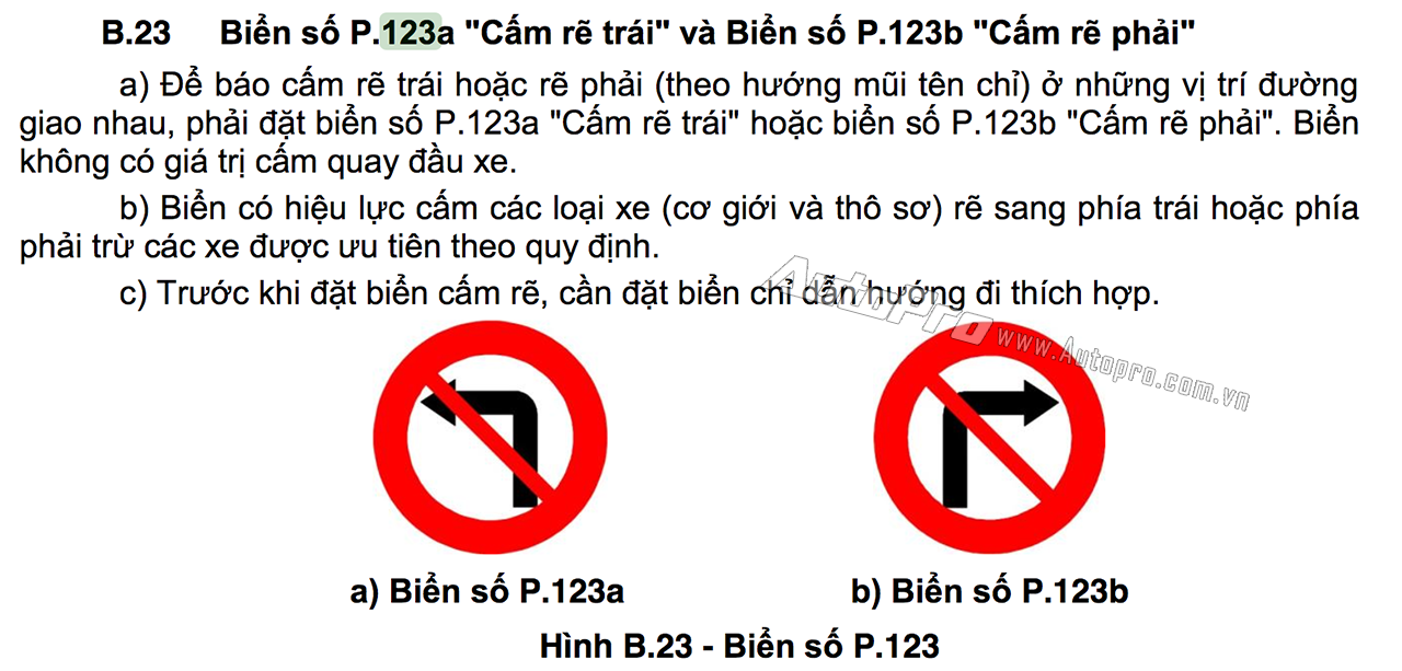 Từ 1/11/2016, khi QCVN 41:2016/BGTVT chính thức có hiệu lực thì các phương tiện vẫn bị cấm rẽ trái tại nơi đặt biến bảo 123a nhưng sẽ được phép quay đầu xe tại đây.