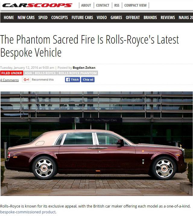 Báo nước ngoài đưa tin về chiếc Rolls-Royce Phantom Lửa thiêng tại Việt Nam.