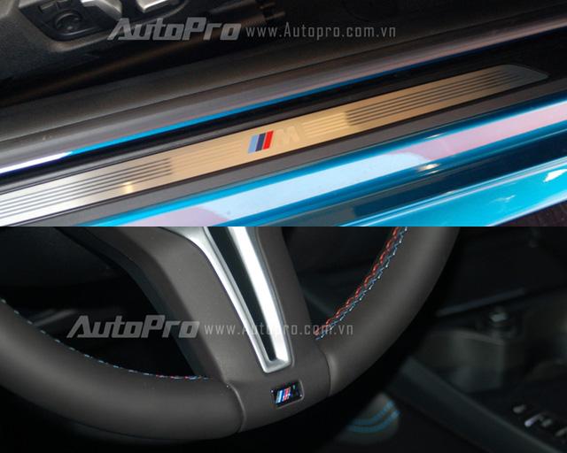 Ngoài ra logo M xuất hiện ở bệ cửa, đáy vô lăng, trên cần số hay tựa lưng trên ghế cũng là điểm nhấn quen thuộc trên các phiên bản hiệu suất cao BMW M Series.