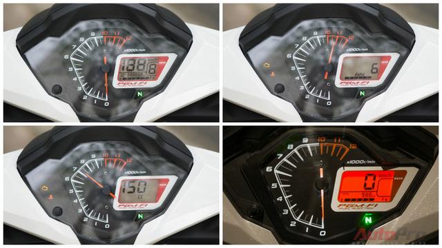 Đồng hồ hiển thị của Honda Winner 150 khá đơn giản với 2 phần: đồng hồ analog và màn hình kỹ thuật số.