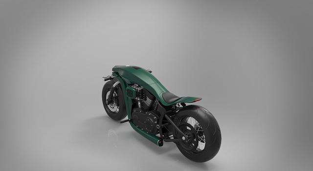 Bình xăng trên Harley-Davidson tương lai rất dài và mỏng. Xe được bố trí yên bọc da dành cho người lái.