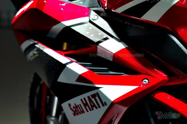 Các khe hút gió hình mang cá điểm xuyết trên thân xe càng tạo vẻ hầm hố cho Honda CBR250RR mới.