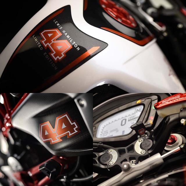Đây là phiên bản đặc biệt của mẫu xe Agusta Dragster RR với LH là tên viết tắt của Lewis Hamilton, còn số 44 là số thứ tự xe đua mà tay đua F1 nổi tiếng sử dụng. Con số này xuất hiện hai bên sườn, bình xăng và chìa khóa của xe.