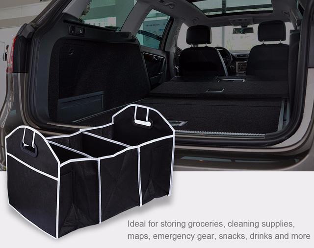 Những túi gấp này có thể được đặt ở cốp sau, hay không gian rộng của xe khi gập các hàng ghế cuối xuống. Nó giúp nhiều vật dụng để ngăn nắp thay vì để la liệt trên sàn xe.
