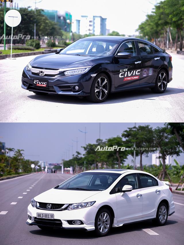 So sánh trực quan Honda Civic 2016 và thế hệ trước đó - Ảnh 1.