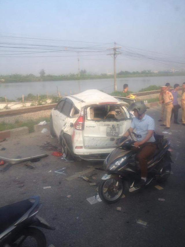 Chiếc Honda CR-V tại hiện trường vụ tai nạn. Ảnh: Otofun