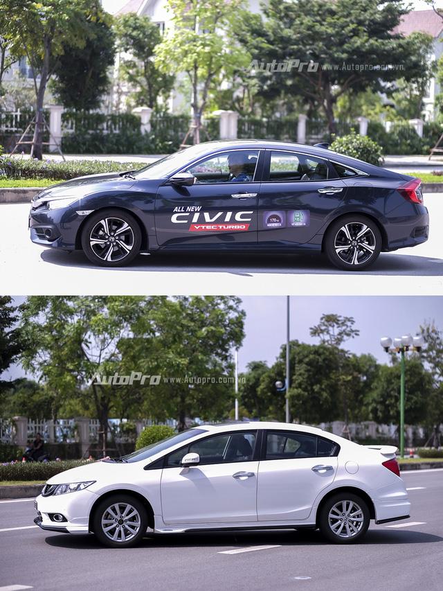 So sánh trực quan Honda Civic 2016 và thế hệ trước đó - Ảnh 2.