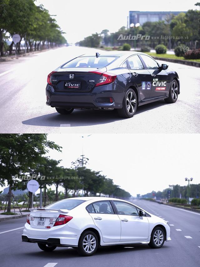 So sánh trực quan Honda Civic 2016 và thế hệ trước đó - Ảnh 3.