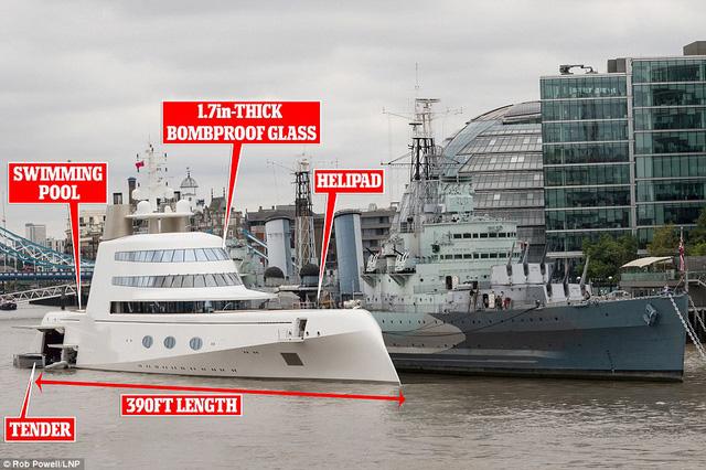 Chiếc siêu du thuyền A có một sân đỗ máy bay trực thăng ở boong trước, bể bơi ở đuôi tàu và cabin có khả năng chống bom.