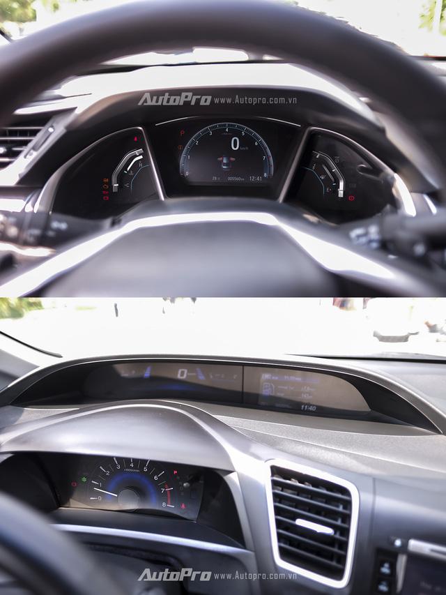So sánh trực quan Honda Civic 2016 và thế hệ trước đó - Ảnh 7.