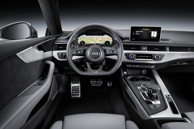 Về an toàn, Audi A5 Coupe thế hệ mới đi kèm bộ cảm ứng bên sườn/phía sau, hỗ trợ giao thông phía sau, kiểm soát hành trình, hỗ trợ khi gặp tắc đường, nhận diện biển báo, hỗ trợ cảnh báo làn đường thích ứng và hỗ trợ quay đầu.