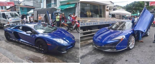 Trước đó 1 ngày, đại gia này cũng gây choáng khi tậu cùng lúc 2 chiếc siêu xe Lamborghini Aventador LP750-4 SV và McLaren 650S Spider cùng màu.