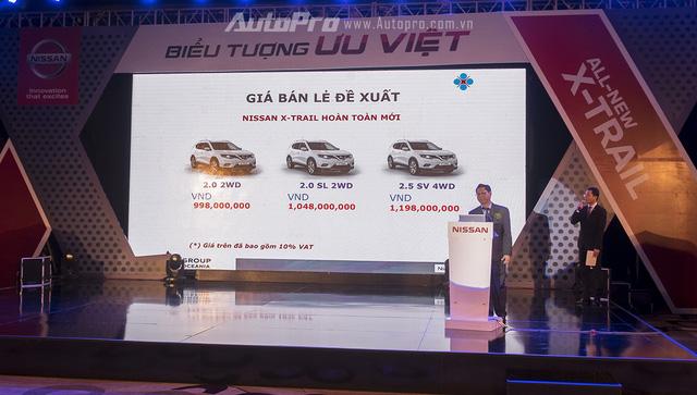 Bảng giá chi tiết của ba phiên bản Nissan X-Trail thế hệ mới.