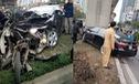 Hà Nội: Toyota Camry đâm xe Dream dính chặt vào trụ đường sắt trên cao