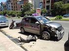 Hà Nội: Taxi rúc đuôi Mitsubishi Jolie,  tài xế ngủ gật
