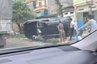 SUV sang Audi Q5 của nữ tài xế bị lật trong vụ tai nạn tại Hà Nội