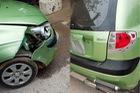 Bắc Ninh: Đậu ngược chiều trên phố ăn sáng, Hyundai Getz bị xe tải tông hư hỏng nặng
