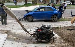 Tai nạn ở tốc độ cao, nguyên dàn động cơ gắn liền hộp số của Subaru WRX văng lên vệ đường