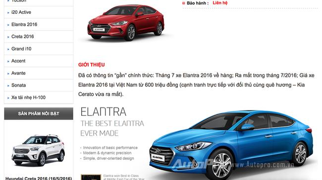 Rộ tin Hyundai Elantra 2016 sắp về Việt Nam, có giá từ 600 triệu đồng