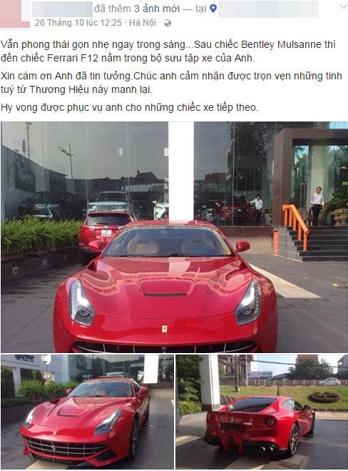 Đến cuối tháng 10 vừa qua, công ty này tiếp tục đăng ảnh ám chỉ việc tiếp tục bán chiếc Ferrari F12 Berlinetta cho đại gia Thanh Hóa. Ảnh chụp màn hình