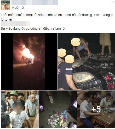 Hải Dương: Nghi bắt cóc trẻ em, người dân đập phá và đốt một chiếc Toyota Fortuner - Ảnh 2.
