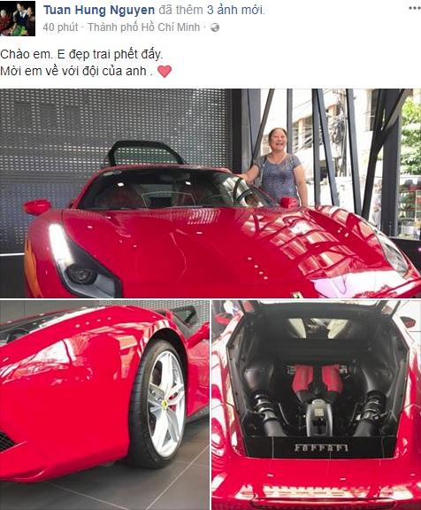 Ca sỹ Tuấn Hưng chịu chơi khi tậu siêu xe Ferrari 488 GTB đỏ rực - Ảnh 1.
