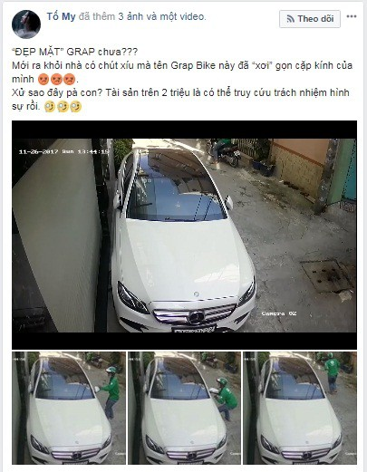 Thanh niên mặc áo GrabBike trộm gương xe Mercedes-Benz của người nổi tiếng giữa ban ngày - Ảnh 2.