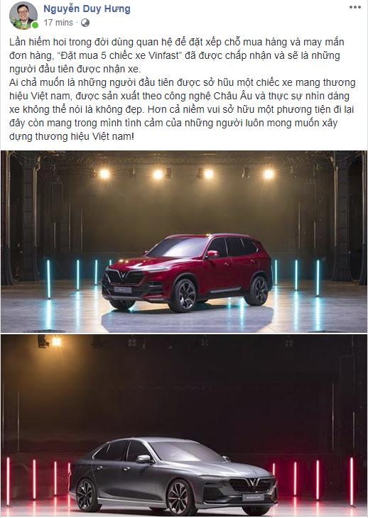 Ông Nguyễn Duy Hưng đặt mua 5 chiếc ô tô VinFast, sẽ là người đầu tiên được nhận xe - Ảnh 1.