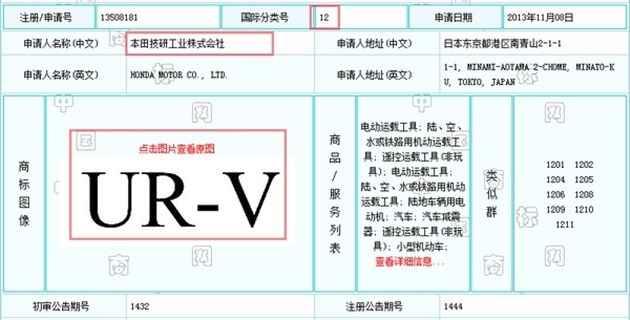 Tài liệu đăng ký bản quyền thương hiệu của Honda tại Trung Quốc.