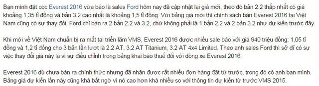 Thông tin về giá bán mới của Ford Everest thế hệ mới xuất hiện trên diễn đàn.
