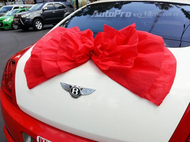 Đuôi xe đơn giản với nơ cưới cỡ lớn màu, nổi bật trên nền trắng ngà của nắp cốp sau.