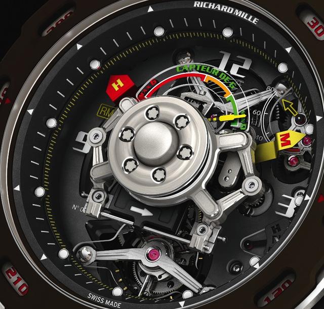Chiếc đồng hồ Richard Mille RM 36-01 với bộ cảm biến G-force trong ảnh trên được sản xuất ở số lượng giới hạn, lấy cảm hứng từ tay đua huyền thoại Sebastien Loeb.