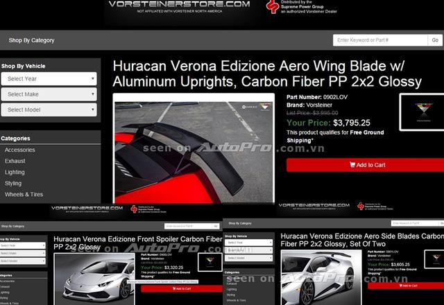 Chi tiết 3 sản phẩm của gói độVorsteiner Verona Edizione. Ảnh chụp từ màn hình