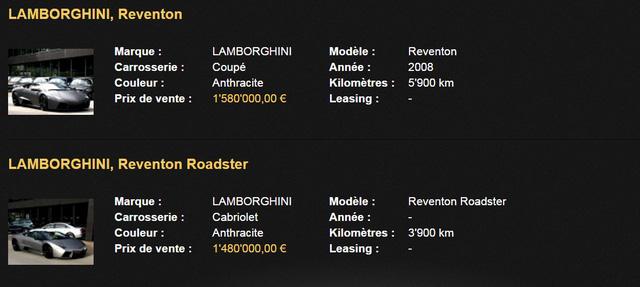 Thông tin chi tiết của 2 chiếc Reventon mui cứng và bản mui trần. Ảnh chụp từ màn hình.
