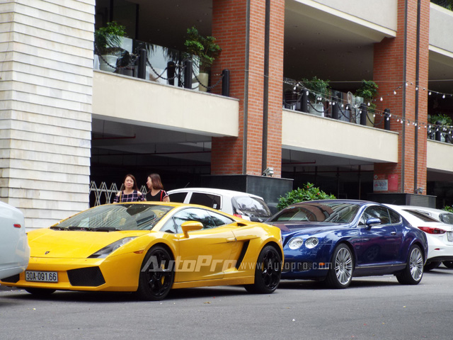 Siêu bò Lamborghini Gallardo màu vàng óng cùng Bentley Continental GT Speed nổi bật trong bộ áo xanh dương khoe dáng trên phố Hải Phòng.