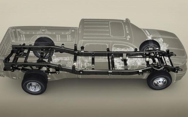 Kết cấu body-on-frame, phần khung xe nằm trên gầm bệ.