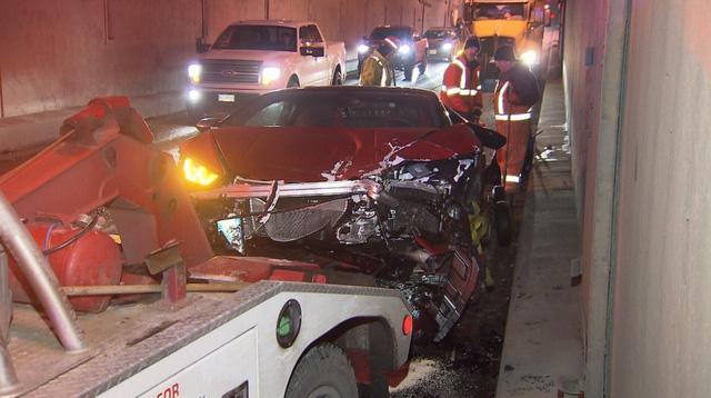 Cặp đôi siêu xe Lamborghini Huracan và Ferrari 458 Italia gặp tai nạn trong đường hầm - Ảnh 2.