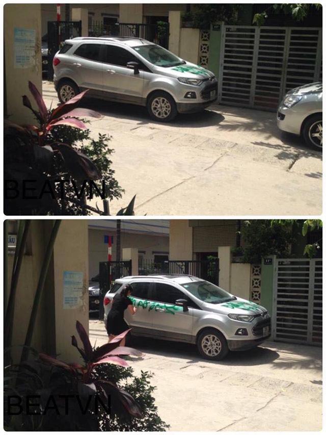 Một chiếc Ford EcoSport từng bị xịt sơn tương tự vì đỗ chắn cổng. Ảnh: Otofun