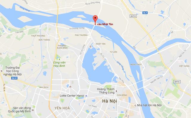 Cầu Nhật Tân nối trung tâm Hà Nội với sân bay Nội Bài. Ảnh: Google Maps.