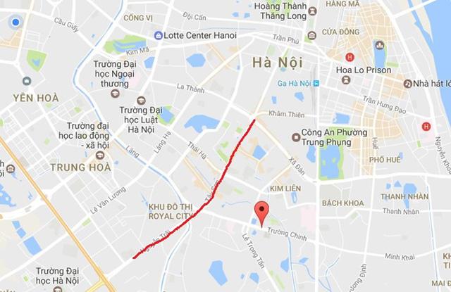 Theo nhân chứng, ôtô chạy dọc đường Nguyễn Trãi rồi vòng lại ngã 5 Ô Chợ Dừa thì bị dừng. Ảnh: Google Maps.