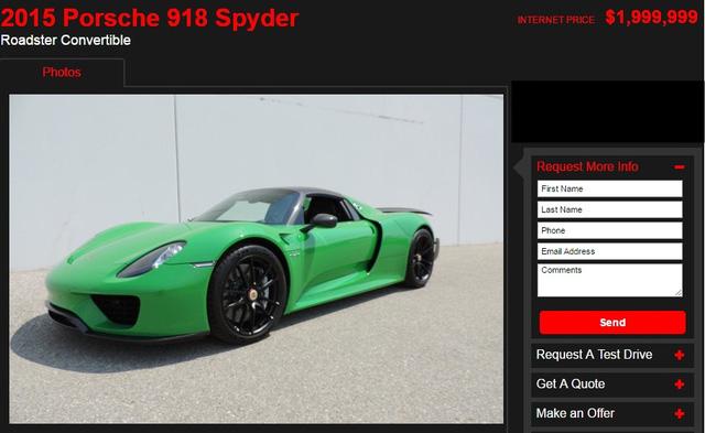 Thông tin rao bán chiếc Porsche 918 Spyder. Ảnh chụp từ màn hình.