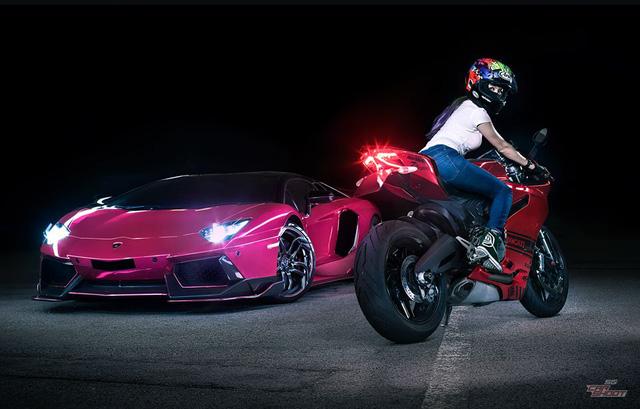 Mỹ nữ lái Ducati 899 Panigale thách đấu Lamborghini Aventador - Ảnh 6.
