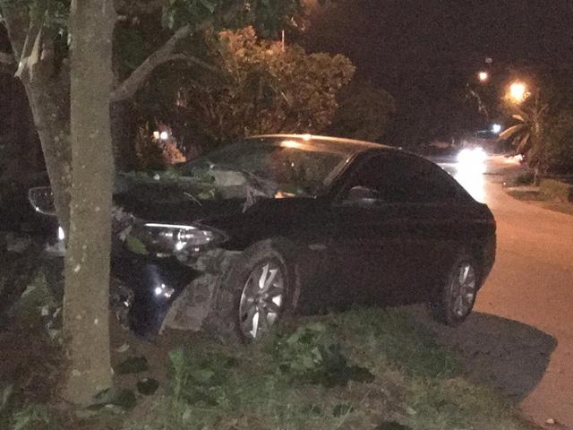 Quảng Ninh: Xe sang BMW 520i tông trực diện vào cây sấu, hư hỏng nặng phần đầu xe - Ảnh 1.