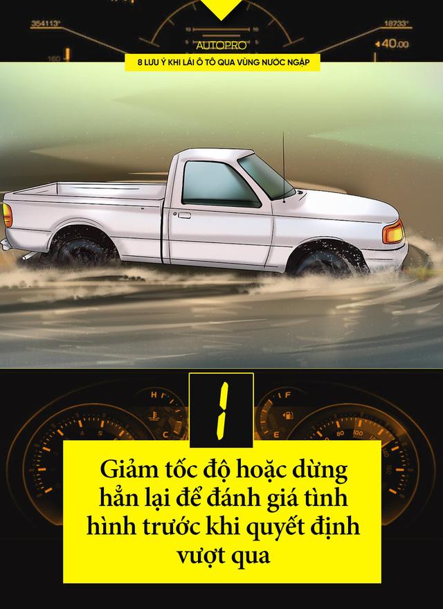 8 lưu ý khi lái xe ô tô qua nước ngập - Ảnh 1.