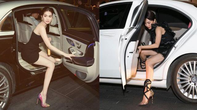 Cùng tạo dáng mở cửa xuống xe: Ngọc Trinh thì sang chảnh còn Diệu Nhi như có người xô xuống