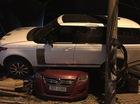 Hà Nội: Range Rover chạy tốc độ cao, leo nóc Volkswagen