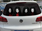 """Dán đề-can """"ma nữ"""" Lâm Tâm Như lên ô tô để dọa người bật đèn pha vô tội vạ"""